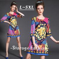 L-5XL Brand Plus Size Lady Floral Print Half Sleeve Dress Spring Big Size Casual A-Line Knee-Length Women Jacquard Dresses 1566