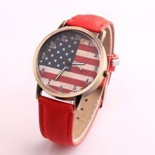 2015 hombres mujeres moda europea y americana de la bandera nacional correa de cuero del vestido relojes digitales de cuarzo relojes hombre párrafo