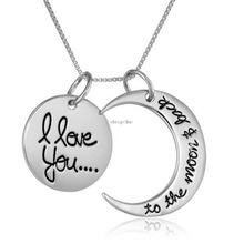 I Love You to the Moon And Back Valentine s Day Birthday Gift Silver Gold Engraved