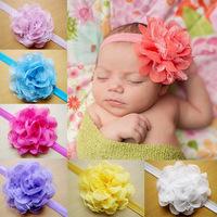 Retail Baby Infant Headband Chiffon Flower Elastic Hair Band Boutique Girls Hair Bows Headwear Children Hair Accessories FS196