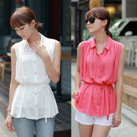Fashion Lady Pure Color Button Long Chiffon Women Shirt Elastic Waist Folds Lapel Sleeveless Chiffon Shirt