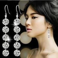 2014 pendientes Bohemia  alta calidad zircon parpadean pendientes de cristal de la moda coreana de la borla de section 30D
