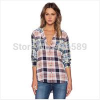 Equipment Original EQ 100% real silk crepe de Chine watercolour plaid women long sleeve soie blouses autumn shirts