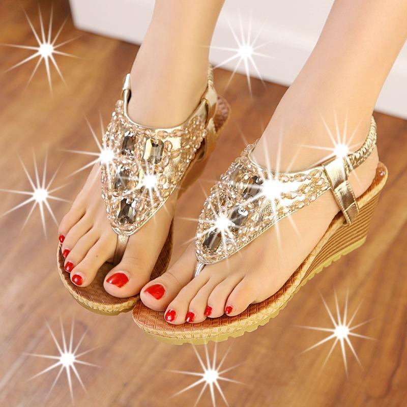 Богема лето обувь ослепительная алмаз вышивка бисером горный хрусталь склон с перевёрнутый сандалии особое вышивка бисером молящийся христос