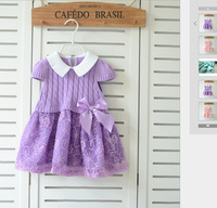 T1782 New Arrival 2015 Spring HIGH QUALITY Children's Clothing  90-120cm Baby Sweet Bow Lace Sleeveless Knit Princess Dress F2