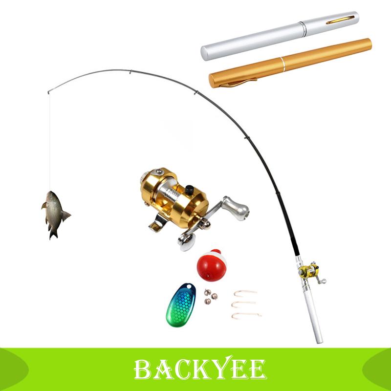 Guaranteed 100 Mini Pocket Portable Fishing Rod Pen Set Reel Wheel Fish Kits With Line Aluminum