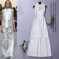 2015 Europe Summer Runway Designer Dress Women's High Quality Sleeveless Bow Embroidery Crochet Cutout Maxi Cotton Dress