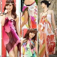 (18 Colors) 2015 Big Promotion Summer Women's Sexy Beach Dress Women's Beach Wear Bikini Cover Up Swimwear Sarong Shawl W00293