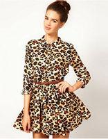 2015 Fashion Party Dresses Women New Lapel Elegant Mini Dress Long Sleeve Leopard Dress With Belt SIZE M/L Drop Shipping