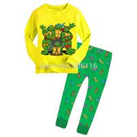 Retail 2015 new children team turtles pajama set kids long sleeve cartoon clothing set toddler baby boys sleepwear/ homewear