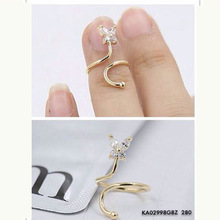 Fashion Nail Ring 2015 New Women toe ring Platinum Plated Rose Gold 925 Silver Three Color Crystal Butterfly Nail Rings