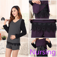 2015 New Spring Elegant Maternity Feeding Clothing Suite  (Black Plaid Tops+Belly Pants) Nursing Clothes Sets For Pregnant Women