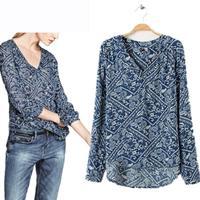 Summer Spring Fashion Blusas Femininas V-Neck Full Sleeve Shirt Chiffon Blouse Blue Cheap Clothes China Vintage Print Women Tops