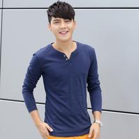 New men's t shirt, 2015 hot sale fashion pure color long sleeve cotton men t shirt, casual slim T-shirt men 8 colors