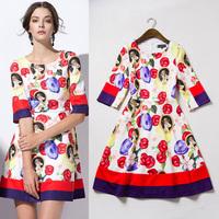 Best Quality New Fashion 2015 Spring Women Angel Baby Print Half Sleeve Vintage Dress European Style Basic Dress Casual Vestido