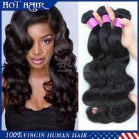 6A Malaysian Body Wave Human Hair Extensions Unprocessed Malaysian Virgin Hair  3 Pcs Lot Natural Black Hair Human Hair Weave