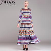 Twods 2015 new floral print maxi dress long chiffon dress plus size S-XXXL luxury Crystal O-neck slim vintage party dress