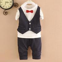 baby boys sets shirts+pants kids sets plaid children suits 2pcs set