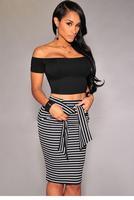 saias femininas 2015 White Fashion Stripes Self-tie Midi Skirt High Waist Stretchy Slim Seamless Package hip Vestidos  LC71094