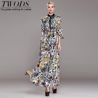Twods 2015 new spring Casual Print maxi dress for women single breasted O-neck half sleeve fashion women long dress