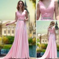 New Style Pink Evening Dress Deep V  #30672