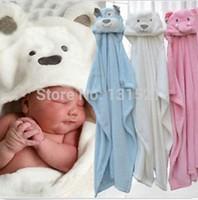 2015 New Animal Shape Coral Fleece 75*100cm Infant Baby Towel Bath Towel With Hat Baby Hooded Bath Towel H4147