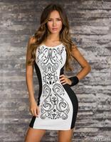 Women New Fashion 2015 Bodycon Mini Dress Black and White Printed Sleeveless Casual Patchwork women Dress