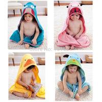 2015 new cartoon hooded baby towel  Boy Girl cartoon pajamas bath robe Soft Coral fleece