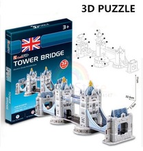 3D Puzzles Architecture Cardboard Model Tower Bridge World Famous Building Assembly DIY Toys For Kids(China (Mainland))