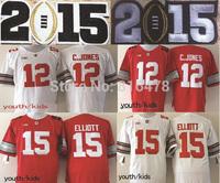 2015 Bcs patch Ohio State Buckeyes 12 Cardale Jones 15 Ezekiel Elliott kids Jersey,cheap youth NCAA College football jersey