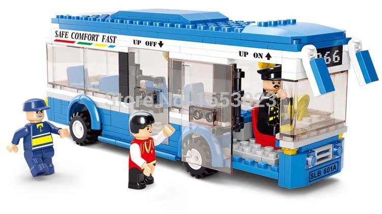 Sluban City Bus Plastic Building Blocks 235pcs bricks DIY Enlighten Model car Kits Building Bricks Compatible with Lego toys(China (Mainland))