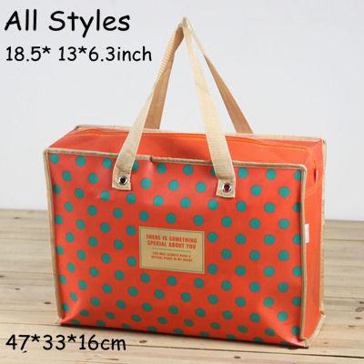 beautiful shopping travel luggage bag cartoon dot waterproof hard coated pp non woven fIber schoolbag students picnic(China (Mainland))