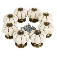 10pcs/lot Creamy white Ceramic 32mm Door Drawer Handles Pumpkins Knobs Europe Ceramic Door Cabinet Cupboard Handles Pull Drawer