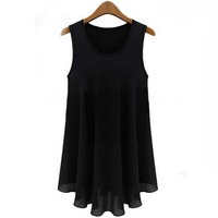 New 2015 Casual Dress Ladies Dresses Sleeveless O-Neck A-line Tank Mini Women Summer Dress Polyester Chiffon Solid Black Dress