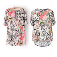 2015 Fashion Summer Shirt Women Crew Neck Retro Print Color Asymmetric Chiffon Short Sleeve T-Shirt, Back Zipper size S/M/L