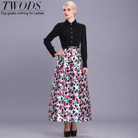 Twods 2015 new fashion brand design spring Light thin maxi dress floral print swing slim A-line dress chiffon long sleeve dress