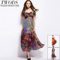 Twods 2015 new arrival women summer dresses top grade quality natural silk vestido de festa Sexy V-neck party dress maxi long