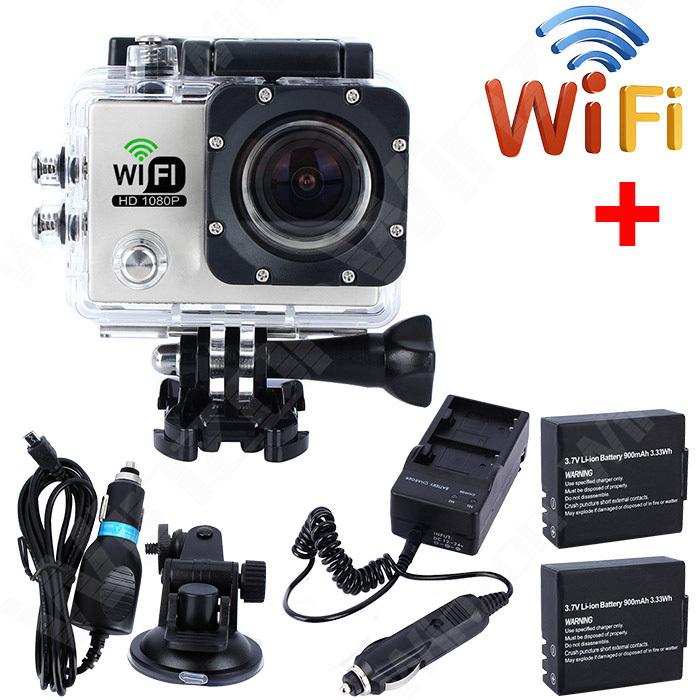 SJ6000 WiFi Mini HD Camara Sports Camera 2 inch Screen Action Cam 12MP Video camaras + Extra 2x Battery + Charger + Car Charger(China (Mainland))