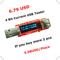 No shell white color OLED USB detector voltmeter ammeter power capacity tester meter voltage current mobile usb power charger