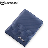 Men's Genuine Leather Business ID Credit Card Holder Bifold Wallet Passcase Hipster Holder Blue