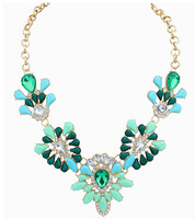 New Pink Green Blue Floral Choker Necklace Collar Necklace Women Necklace Party Necklace BJN900925