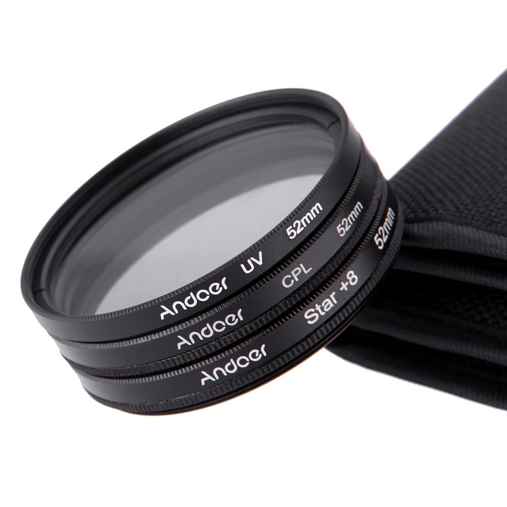 Andoer 52mm Filter Set UV Filter + CPL Filter + Star Filter Kit with Case for Canon Nikon Sony DSLR Camera Lens(China (Mainland))