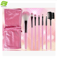 7pcs 6 Colors Professional Makeup Brushes Set Portable Powder/Eye Shadow/Lip/Blush Brush Kit With PU Cosmetic Bag