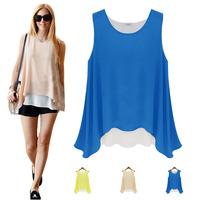 2015 Brand Ladies Chiffon Tank O Neck Sleeveless Solid Casual Irregular Tops Blouse Summer T shirt 3 Color S-XL FE2632