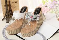 2015 new arrival  35-39 sandals wedge sandals bohemian sandals sweet lace transparent women sandals