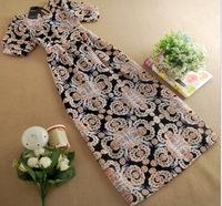 2015 Women's Spring Summer New Fashion Casual Short-sleeved Round Neck Waist Retro Print Chiffon Dress Bohemian Long Dresses