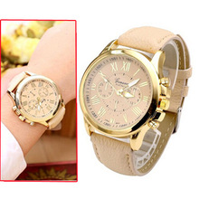 2014 new casual ladies Quartz Watch fashion women gold plated watches leather woman luxury brand famous relogio