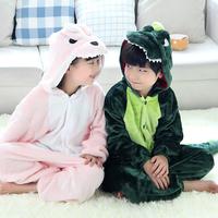 kid pajama sets long-sleeved baby clothing flannel pajamas animal cartoon dinosaur piece plush tracksuit kids winter pajamas