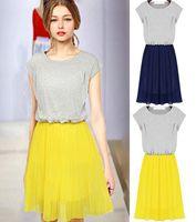 2015 Women Summer Dress Casual Short Sleeve Round Collar Fold Chiffon Stitch Party Skater Dress FE2616#S5