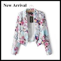 2015 New Arrival Women Short Cheap Female Notched Collar Floral Print Blazer Blaser Feminino